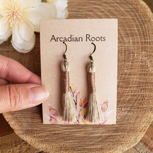 Dark Beige Linen Tassel Earrings
