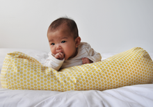 "Load image into Gallery viewer, ComfyMama 3-in-1 Organic Buckwheat Hull Nursing Pillow (with Outer Pillowcase) 23""x 7.5"""