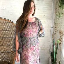 Load image into Gallery viewer, Vintage 1970's Sheer Floral Maxi Dress
