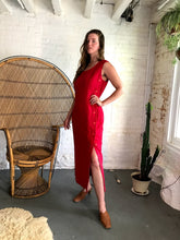 Load image into Gallery viewer, Vintage Cherry Red Linen Dress