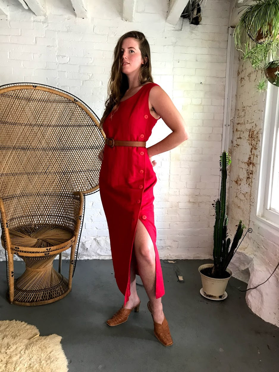 Vintage Cherry Red Linen Dress