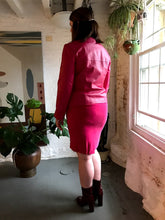 Load image into Gallery viewer, Vintage Magenta Brushed Silk Mini Skirt
