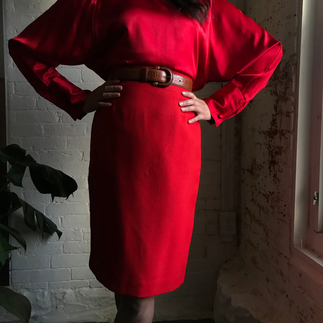 Vintage Cherry Red Pencil Skirt