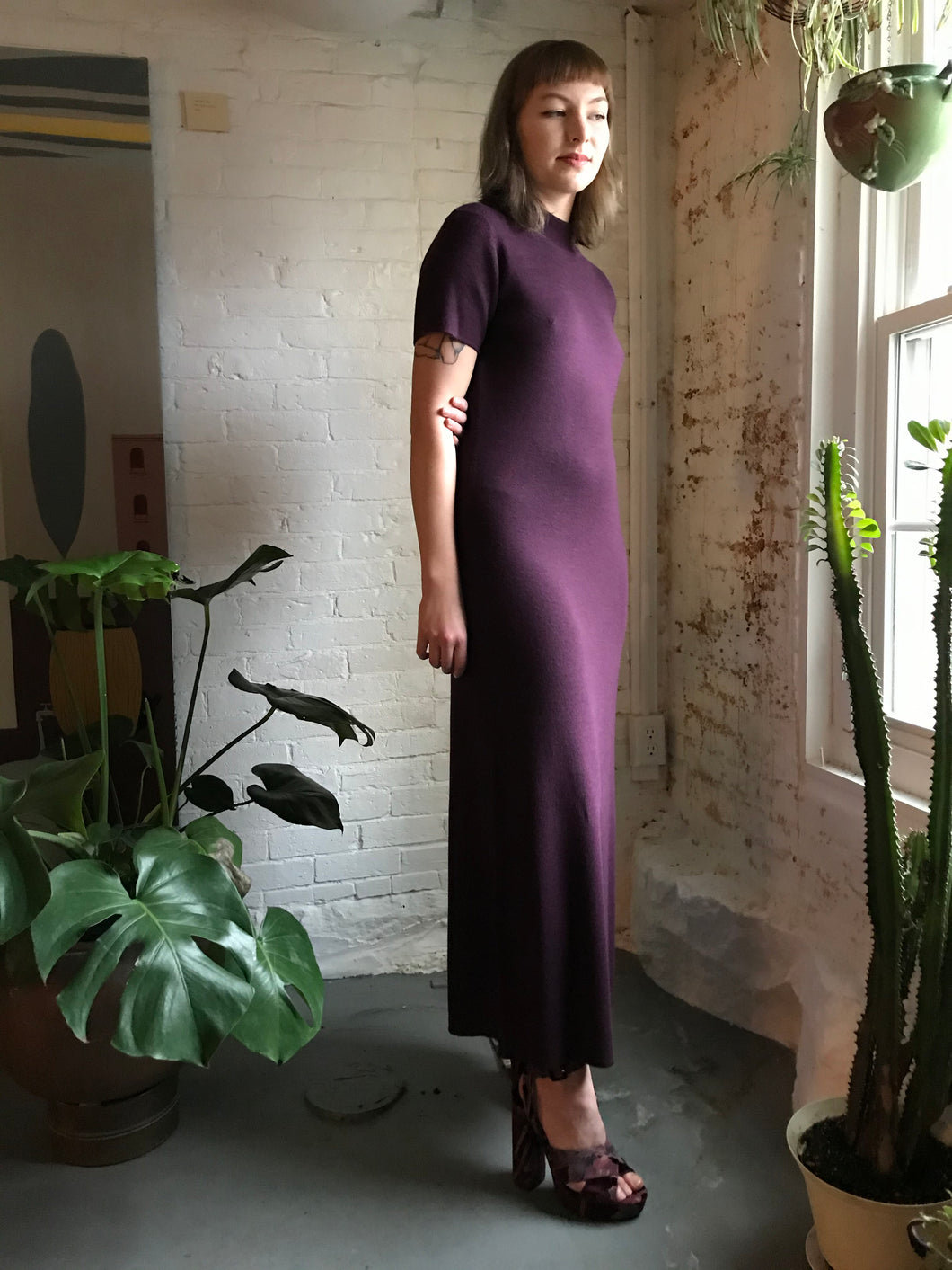 Vintage Wool Knit Maxi Dress in Royal Plum