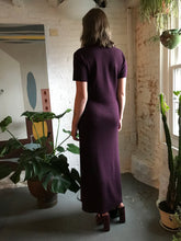 Load image into Gallery viewer, Vintage Wool Knit Maxi Dress in Royal Plum