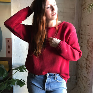Vintage J Crew Cherry Red Cotton Sweater