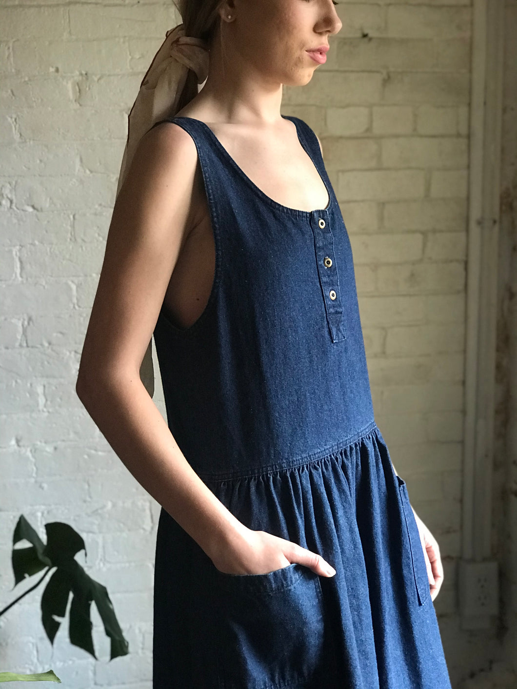 Vintage 1980's Cotton Denim Jumper Dress
