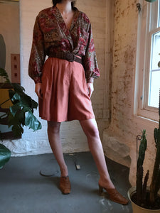 Vintage Blush Orange Silk Shorts
