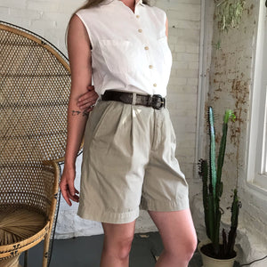 Vintage Khaki High Waist Shorts