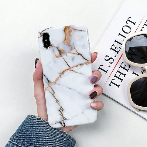 White Rose Gold Marble Case