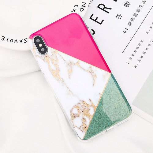 Chic Pink and Green Glitter Case
