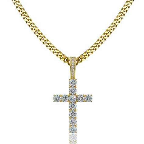 ICED OUT 18K GOLD CROSS PENDANT CUBAN LINK CHAIN NECKLACE