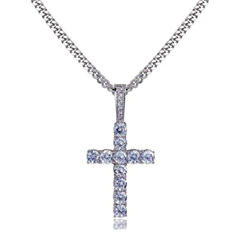 ICED OUT 18K WHITE GOLD CROSS PENDANT CUBAN LINK CHAIN NECKLACE