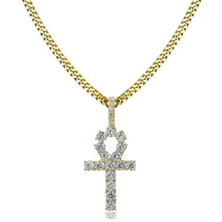 ICED OUT 18K GOLD EGYPTIAN ANKH PENDANT CUBAN LINK CHAIN NECKLACE