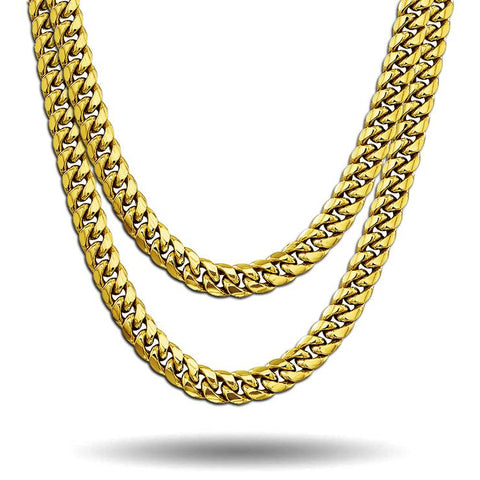 GOLD ORIGINAL CUBAN LINK CHAIN SET