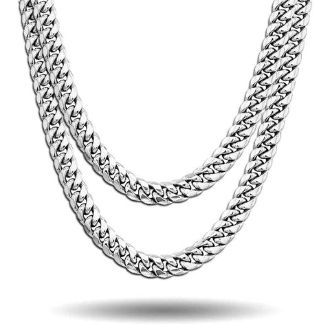 WHITE GOLD ORIGINAL CUBAN LINK CHAIN SET