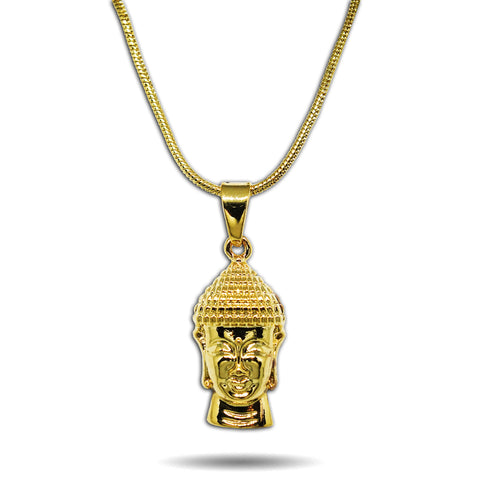 GOLD MICRO LUCKY BUDDHA HEAD PENDANT NECKLACE