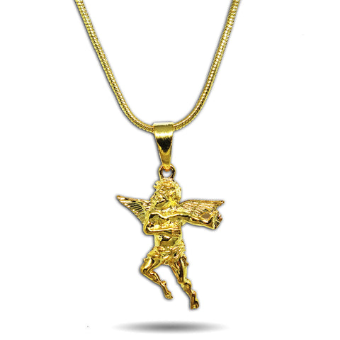 GOLD SMALL DEFENDER ANGEL PENDANT NECKLACE
