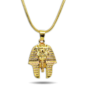 GOLD SMALL MICRO EGYPTIAN PHARAOH HEAD PENDANT NECKLACE