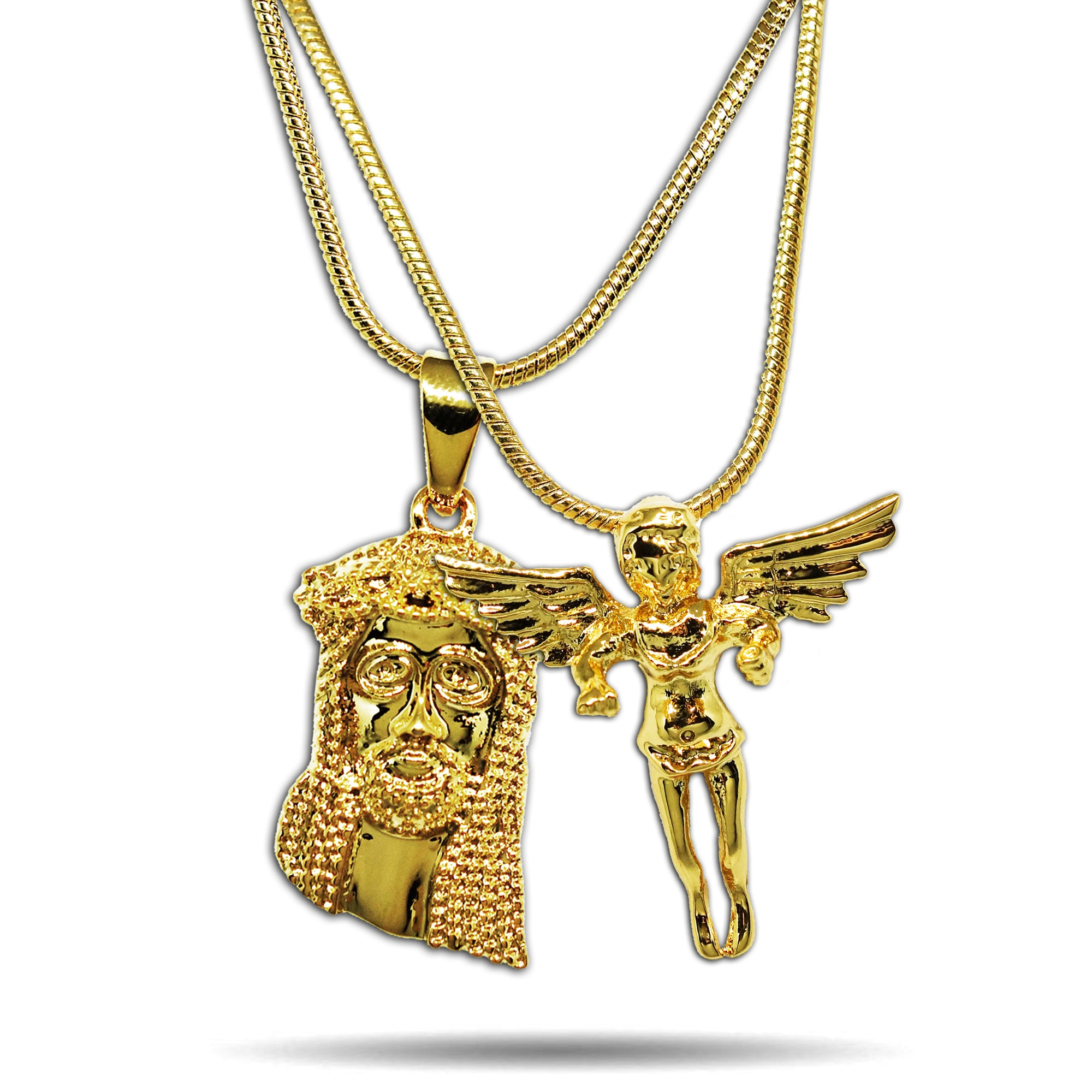 GOLD MICRO JESUS PIECE + ANGEL NECKLACE SET