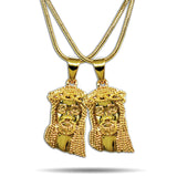 2 x GOLD MICRO JESUS PIECES NECKLACE SET