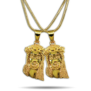2 x GOLD SMALL MICRO JESUS PIECES NECKLACE SET