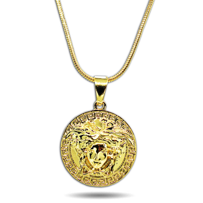 GOLD SMALL MICRO MEDUSA HEAD CIRCLE PENDANT NECKLACE