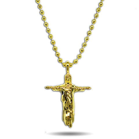 GOLD MICRO REDEEMER JESUS PENDANT NECKLACE