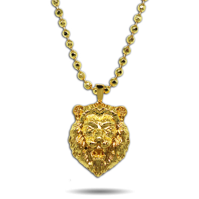 GOLD MICRO ROARING LION HEAD PENDANT NECKLACE