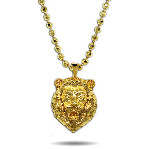 GOLD SMALL MICRO ROARING LION HEAD PENDANT NECKLACE