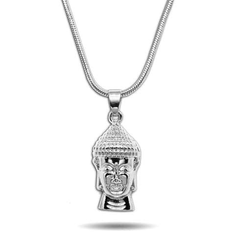 WHITE GOLD SMALL MICRO BUDDHA HEAD PENDANT NECKLACE