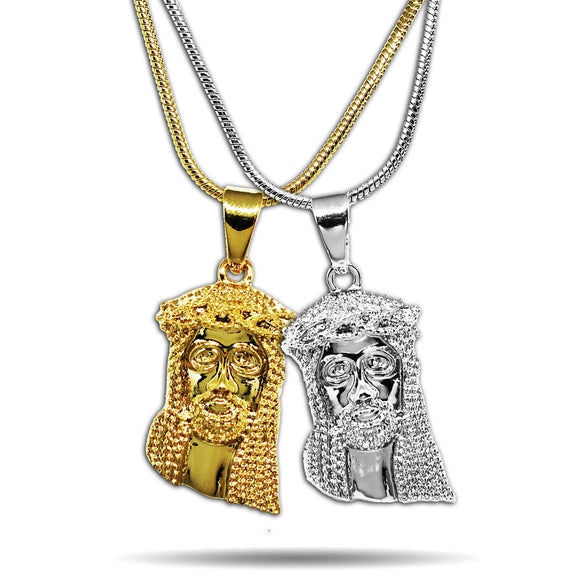 2 x TWO TONE MICRO JESUS PIECES NECKLACE SET