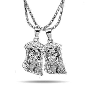 2 x WHITE GOLD MICRO JESUS PIECES NECKLACE SET