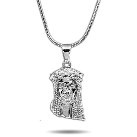 WHITE GOLD SMALL MICRO JESUS PIECE NECKLACE