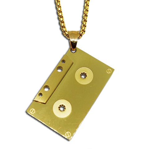 GOLD CASSETTE TAPE PENDANT NECKLACE
