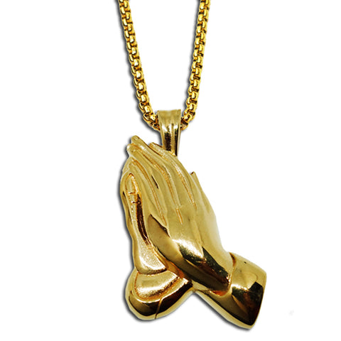 GOLD PRAYING HANDS PENDANT NECKLACE