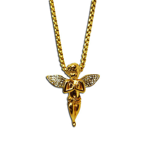 GOLD MICRO ANGEL PENDANT NECKLACE WITH DIAMONDS