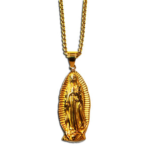 GOLD VIRGIN MARY PENDANT NECKLACE