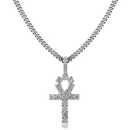 ICED OUT 18K WHITE GOLD EGYPTIAN ANKH PENDANT CUBAN LINK CHAIN NECKLACE