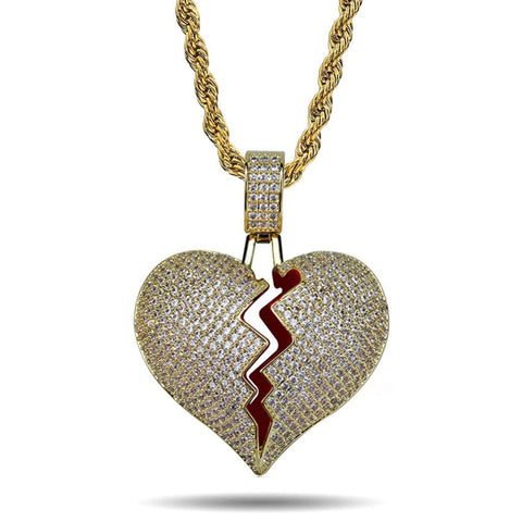 "ICED OUT GOLD ""HEARTBREAKER"" BROKEN HEART PENDANT NECKLACE"