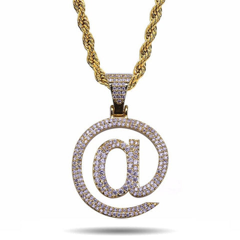 "ICED OUT GOLD ""AT SIGN"" PENDANT NECKLACE"