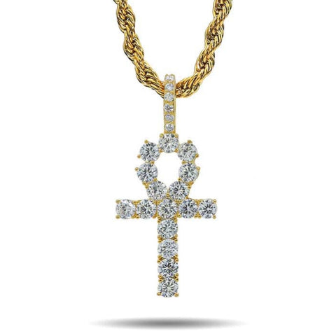 ICED OUT GOLD EGYPTIAN ANKH PENDANT NECKLACE