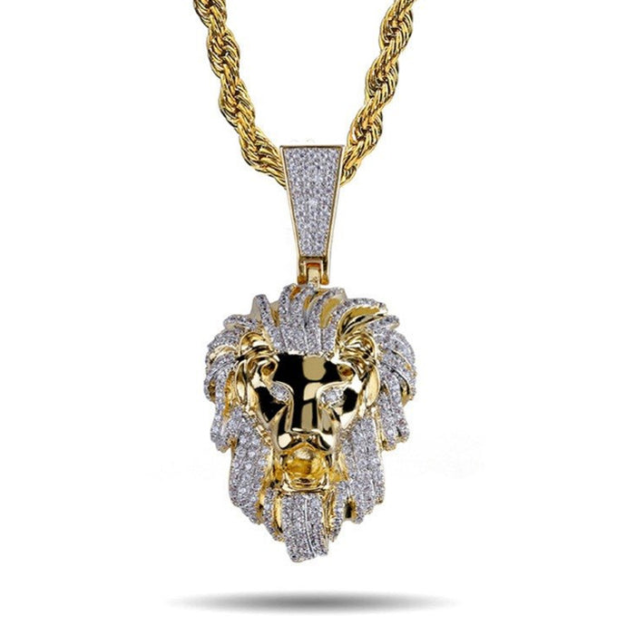 ICED OUT GOLD LION HEAD PENDANT NECKLACE