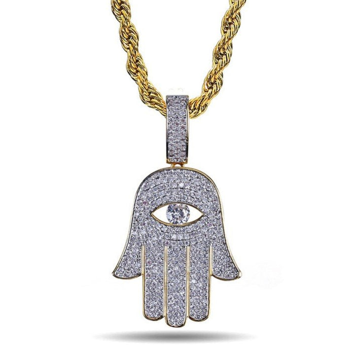ICED OUT GOLD HAMSA HAND PENDANT NECKLACE