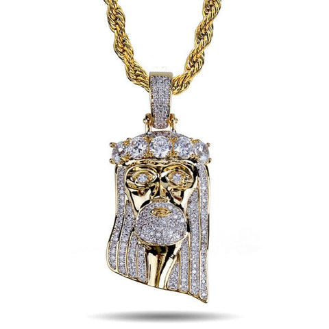 ICED OUT GOLD JESUS PIECE PENDANT NECKLACE