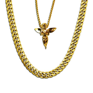 GOLD CUBAN LINK CHAIN + MICRO ANGEL PIECE NECKLACE SET