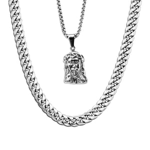 WHITE GOLD CUBAN LINK CHAIN + MICRO JESUS PIECE NECKLACE SET