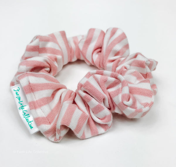 Signature Pink/White Stripe Scrunchie