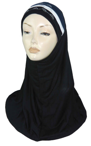DIAMNTE AL AMIRA HIJAB 1 PC. BLACK -WHILE