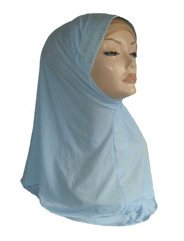 DIAMANTE PADDED RIM HIJAB - PALE BLUE